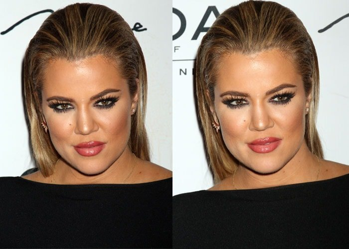 Khloé Kardashian wore a sheer paneled dress by Self-Portrait styled with jewelry from Shay