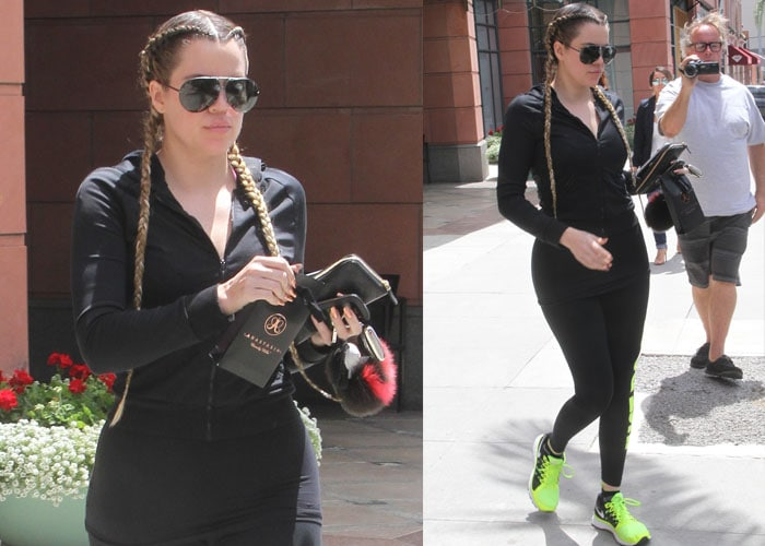 Khloé Kardashian leaving a salon in Nike Zoom Vomero 9 sneakers