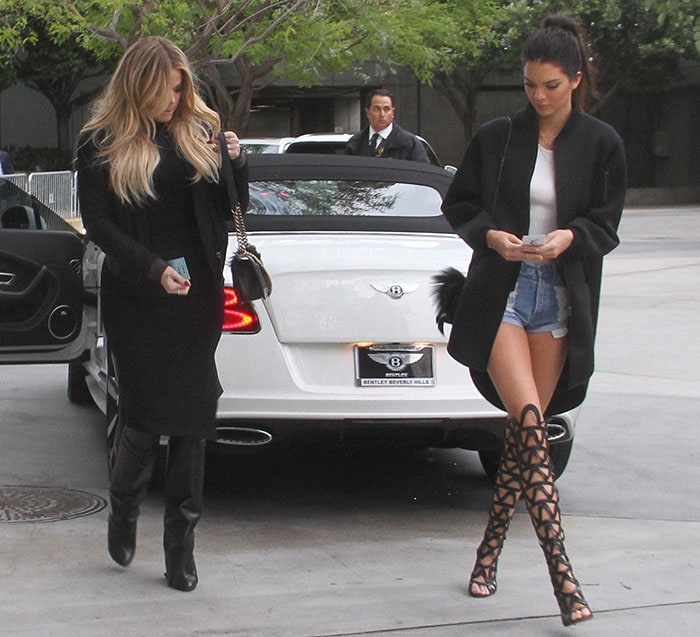 Khloe Kardashian and Kendall Jenner arriving at the Staples Center to watch the Houston Rockets vs. Los Angeles Clippers game