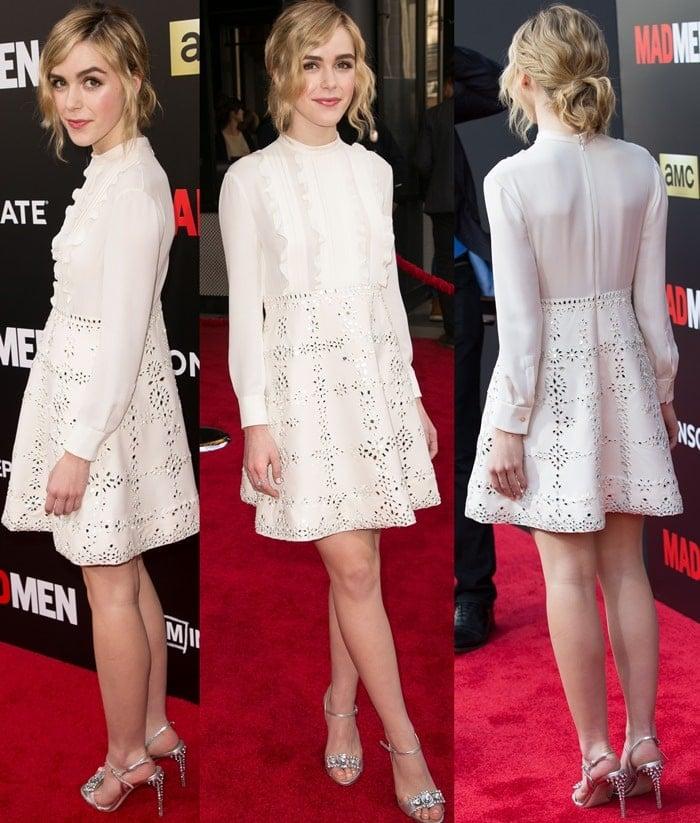 Kiernan Shipka wears a white Valentino dress on the red carpet