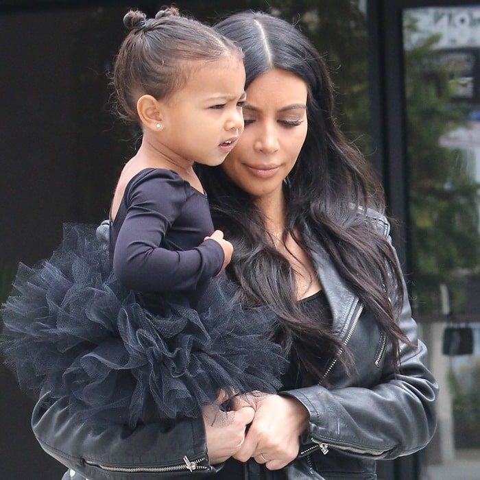 North West looked cute in a ballerina's tutu and a mini leather jacket