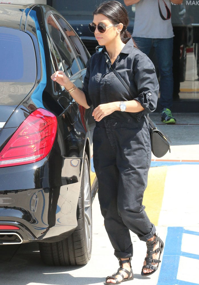 """Kourtney Kardashian rolled up at the ankles to show off her Belle by Sigerson Morrison """"Bianca"""" sandals"""