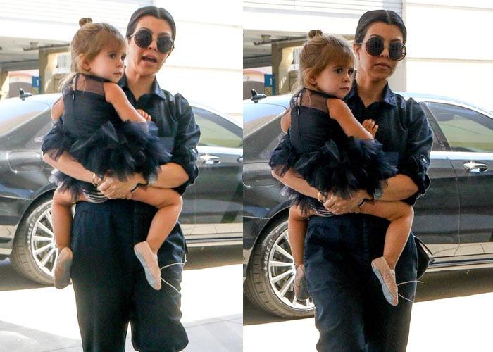 Kourtney Kardashian rocked round sunglasses