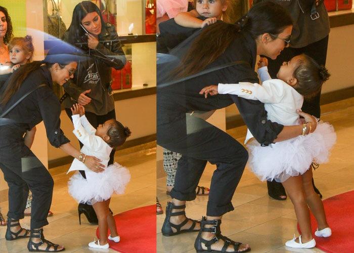 Kourtney Kardashian was joined by her sister Kim Kardashian and North West
