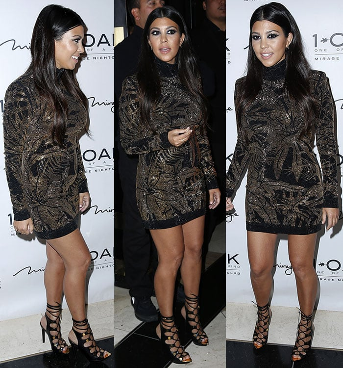 Kourtney Kardashian in a black-and-gold studded mini dress for Scott Disick's 32nd birthday at 1 Oak in Las Vegas on May 23, 2015