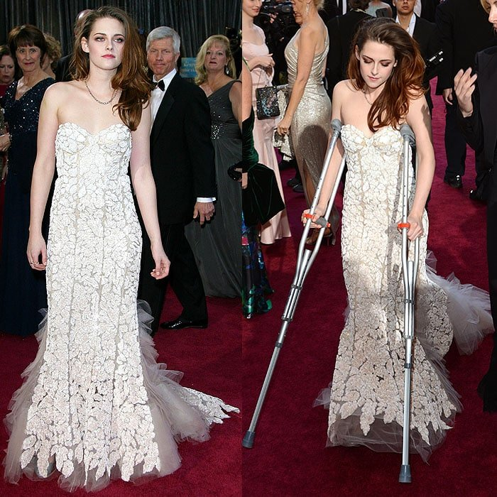 "Crutches and a foot injury didn't stop Kristen from looking fabulous in a Reem Acra couture strapless gown and Bloch ""Fonteyn"" ballet flats at the 2013 Oscars"