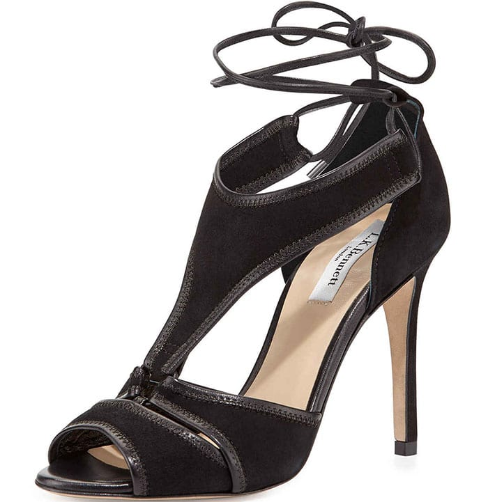 Giselle Suede Ghillie-Tie Sandals in Black