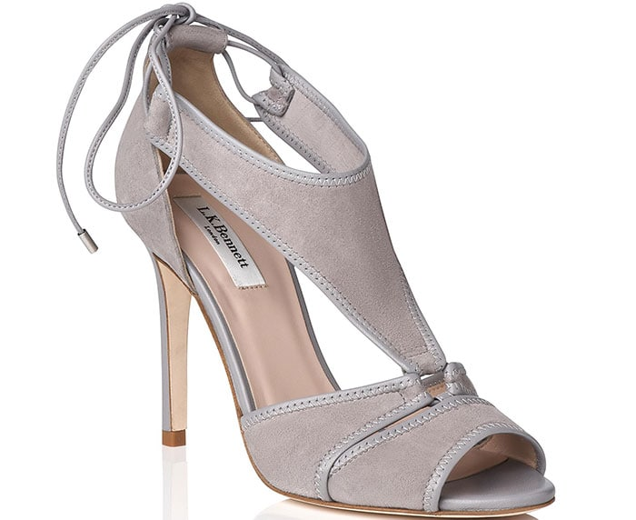 Giselle Suede Strappy Sandals in Gray