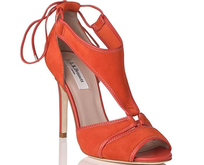 Giselle Suede Strappy Sandals in Orange