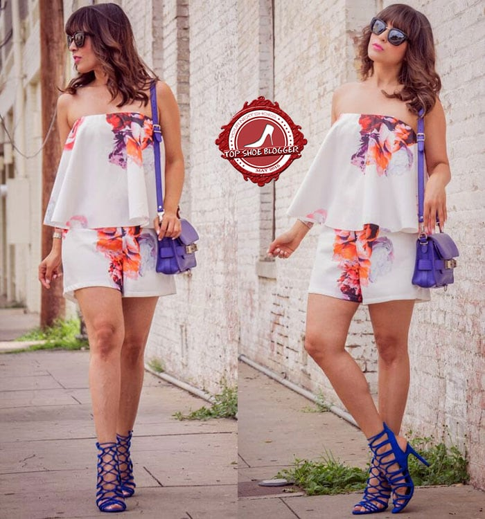 Laura styled her blue cage sandals with a floral romper