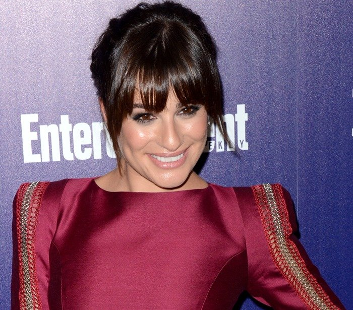 Lea Michele's dress with metallic detailing on the sleeves