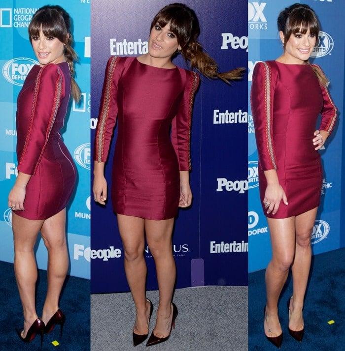 Lea Michele paraded her legs in a burgundy mini dress