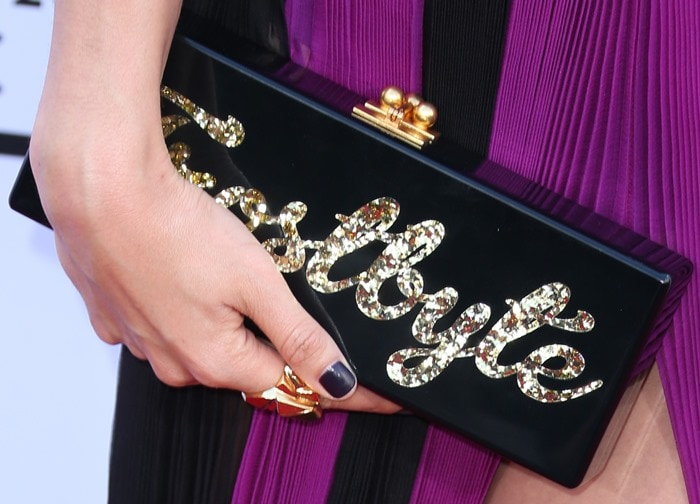 """Lily Aldridge toted an Edie Parker """"Frostbite"""" clutch"""
