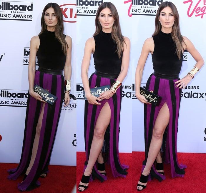 Lily Aldridge's royal purple and black Balmain dress