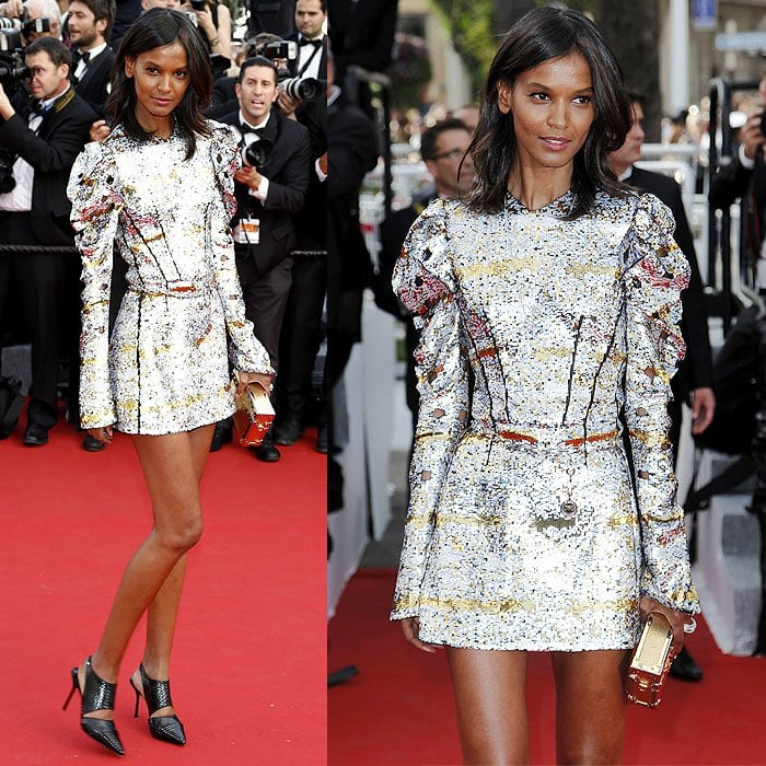 Liya Kebede making her way down the red carpet at the 68th annual Cannes Film Festival