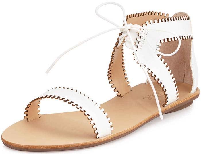 Loeffler Randall Sophia Leather Lace-Up Sandal in White