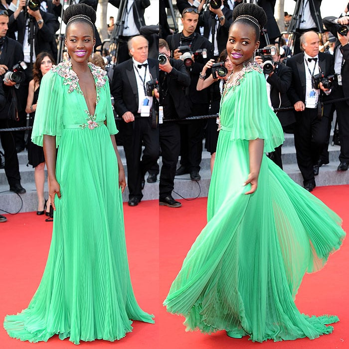Lupita Nyong'o modeling more angles of her one-of-a-kind Gucci pleated chiffon gown