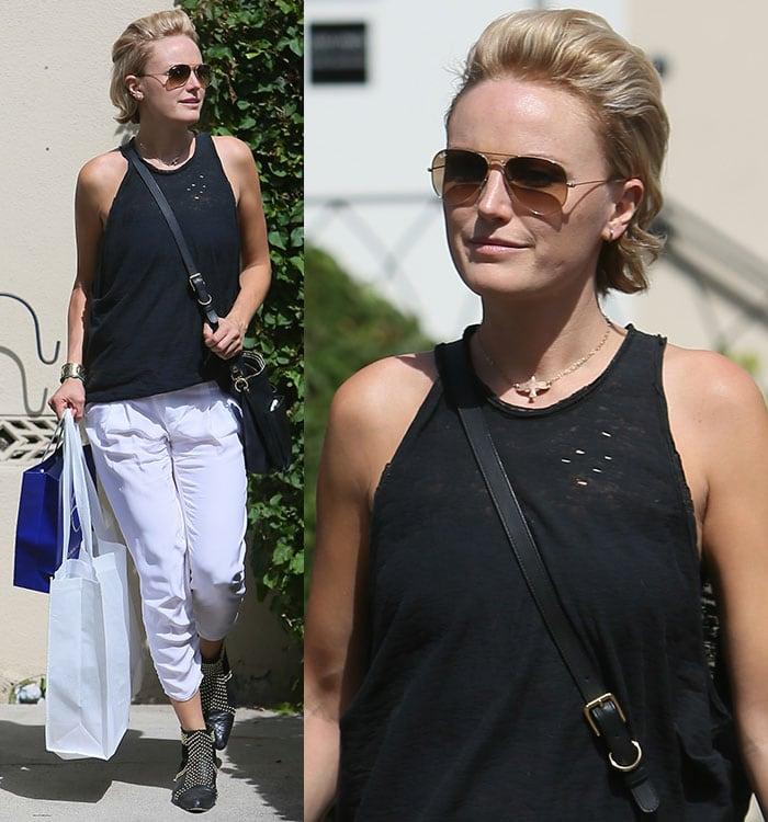 Malin Akerman rocks Anine Bing booties while shopping in Beverly Hills