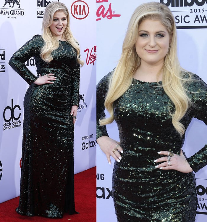 Meghan Trainor looked amazing in her forest green dress