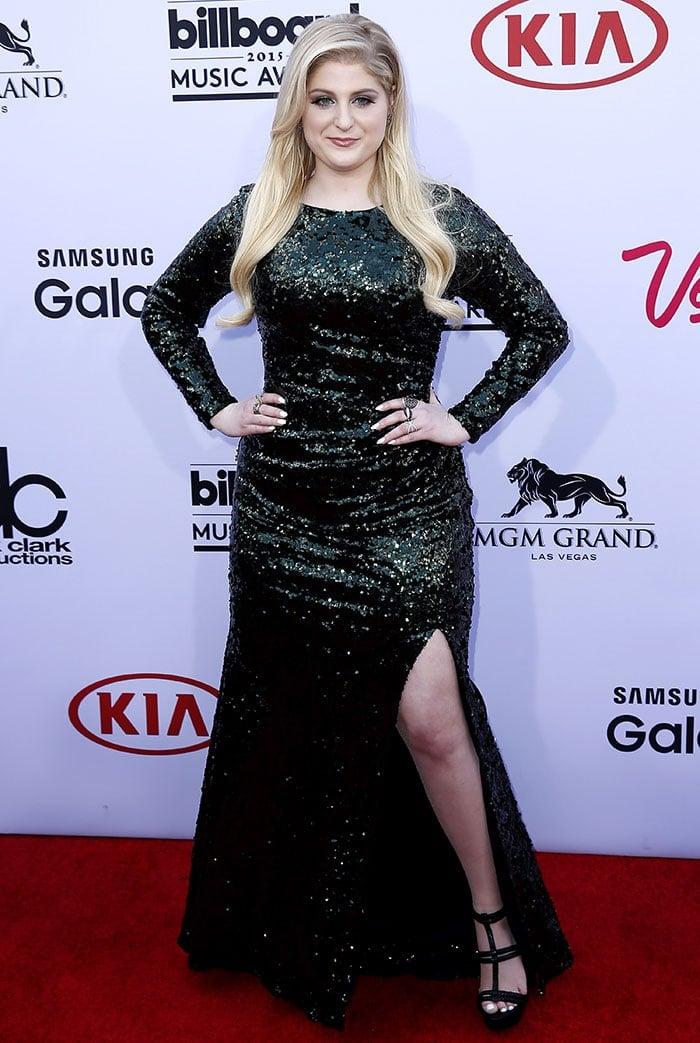 Meghan Trainor rocked a shimmering Badgley Mischka sequin dress