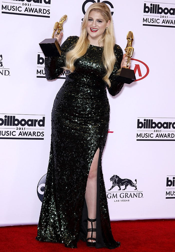 "Meghan Trainor won two awards for Top Digital Song and Top Hot 100 Song for her smash hit, ""All About That Bass."""