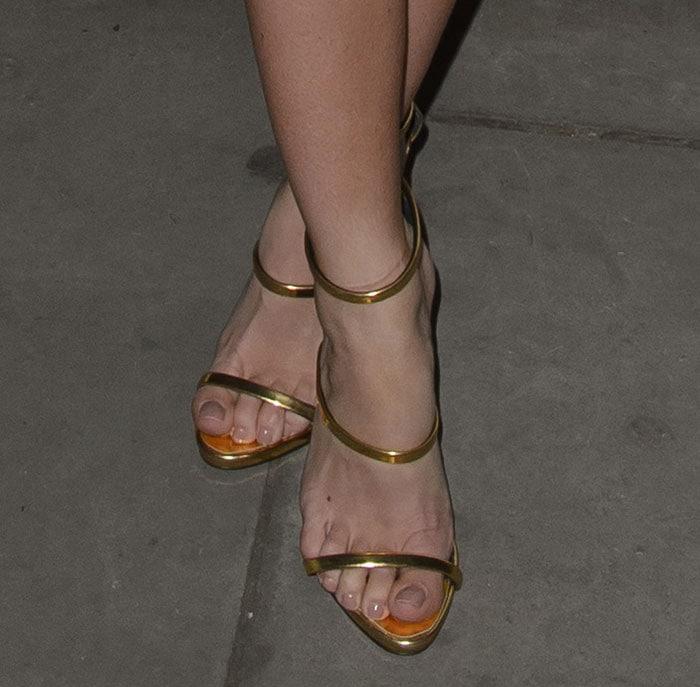Mollie-King-Giuseppe-Zanotti-Triple-Strap-Gold-Sandals-1