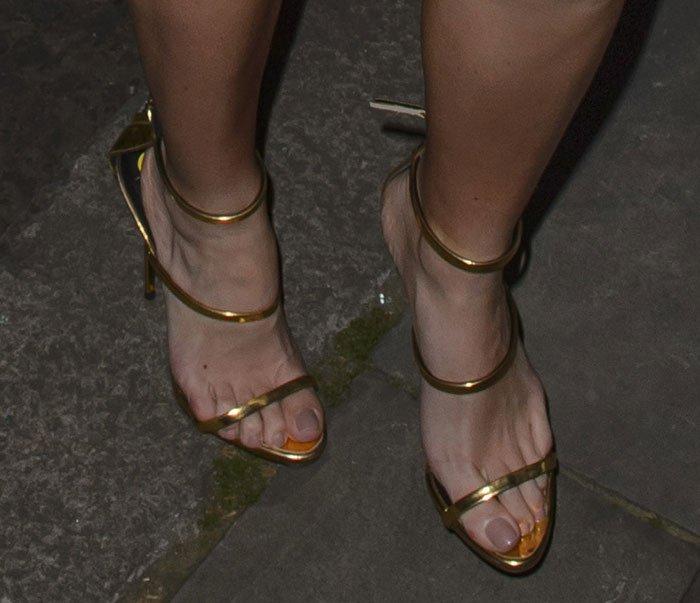 Mollie-King-Giuseppe-Zanotti-Triple-Strap-Gold-Sandals