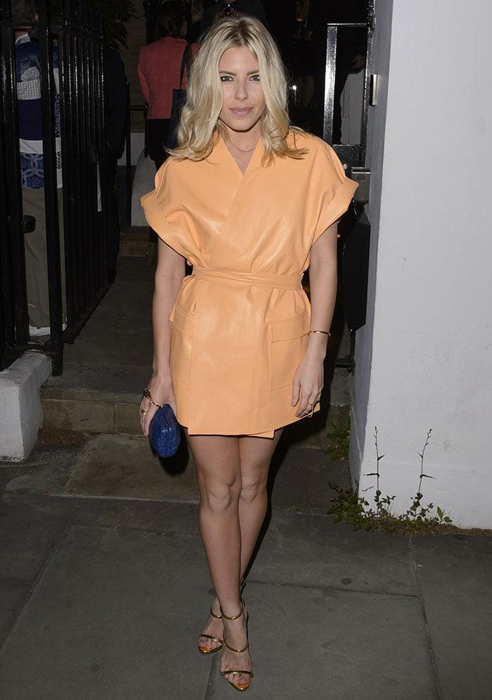 Mollie-King-Leather-Dress-Dom-Perignon-Party