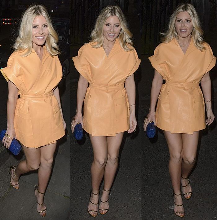 Mollie-King-yellow-leather-wrap-minidress-Dom-Perignon-Party