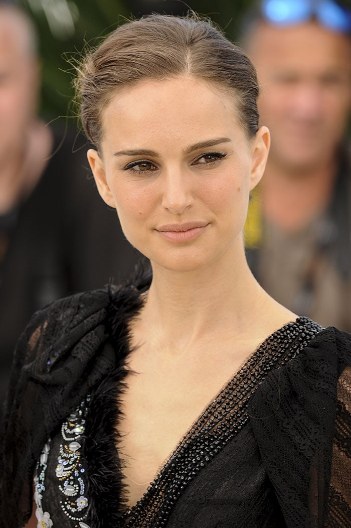 Natalie Portman styled her brunette locks up into a bun