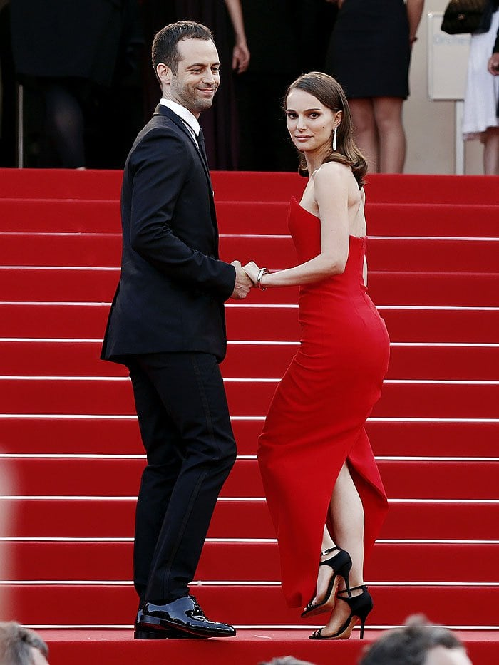 Husband-and-wife Benjamin Millepied and Natalie Portman on the famous stairs of the Cannes Film Festival