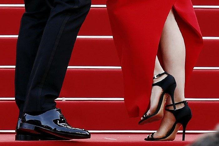 Closeup of Benjamin Millepied and Natalie Portman's shoes