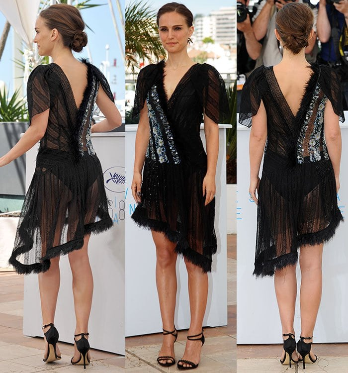 Natalie Portman gave onlookers an eyeful as her ass and knickers were visible under her cheeky frock