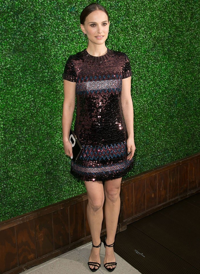 Natalie Portman flaunted her legs in a short-sleeved Dior sequin mini dress