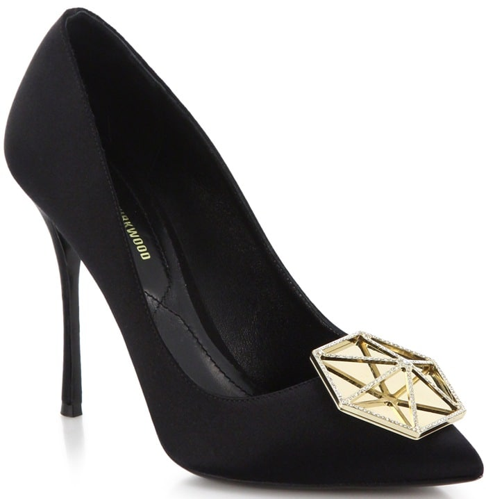 Nicholas Kirkwood Black Metal Jewel-Embellished Suede Pumps