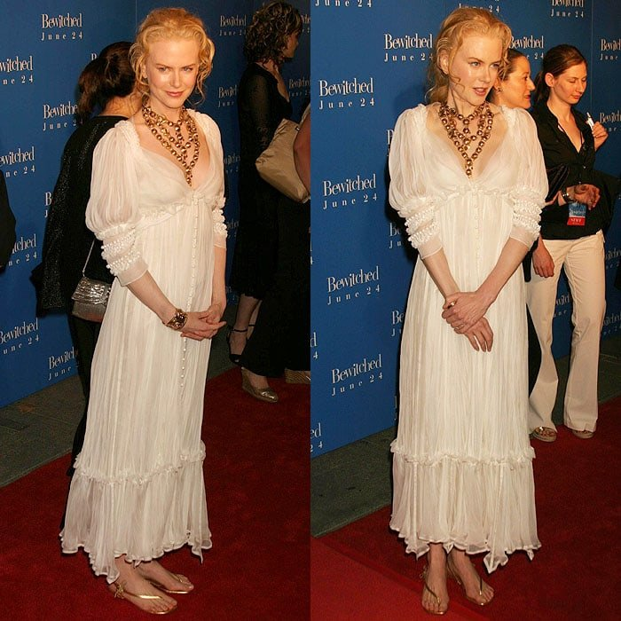 Nicole Kidman channeled the complete opposite of her witchy role in a floaty, white Yves Saint Laurent dress