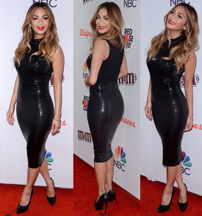 Nicole Scherzinger flashes her legs in celebration of America's first Red Nose Day