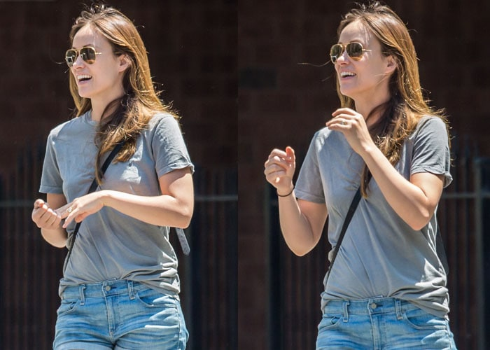 Olivia Wilde styled her denim shorts with a gray tee and sunglasses