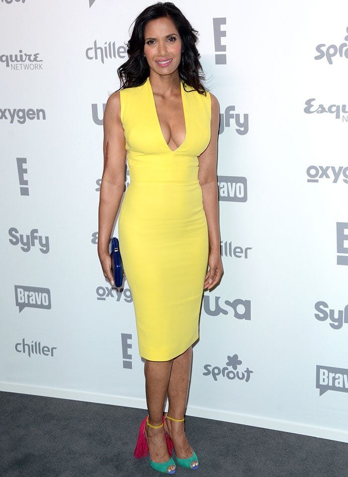 "Svelte Ballet Dancer Shares Picture Of Her Cellulite: Padma Lakshmi In Christian Louboutin Colorblock ""Otrot"