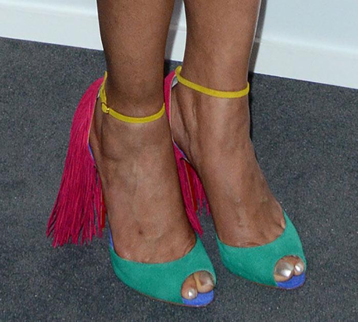 Padma-Lakshmi-Christian-Louboutin-Colorblock-Otrot-Fringe-Sandals-1