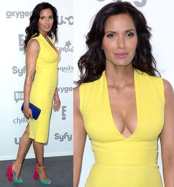 Padma-Lakshmi-plunging-v-neck-yellow-dress-colorblock-fringe-sandals
