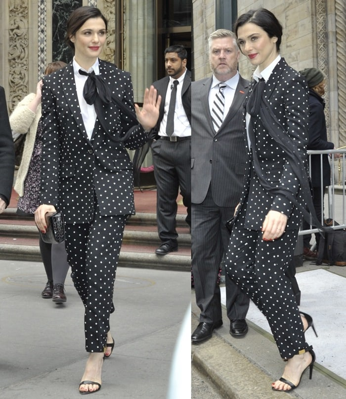 Rachel Weisz rocked a cross-print suit from Givenchy