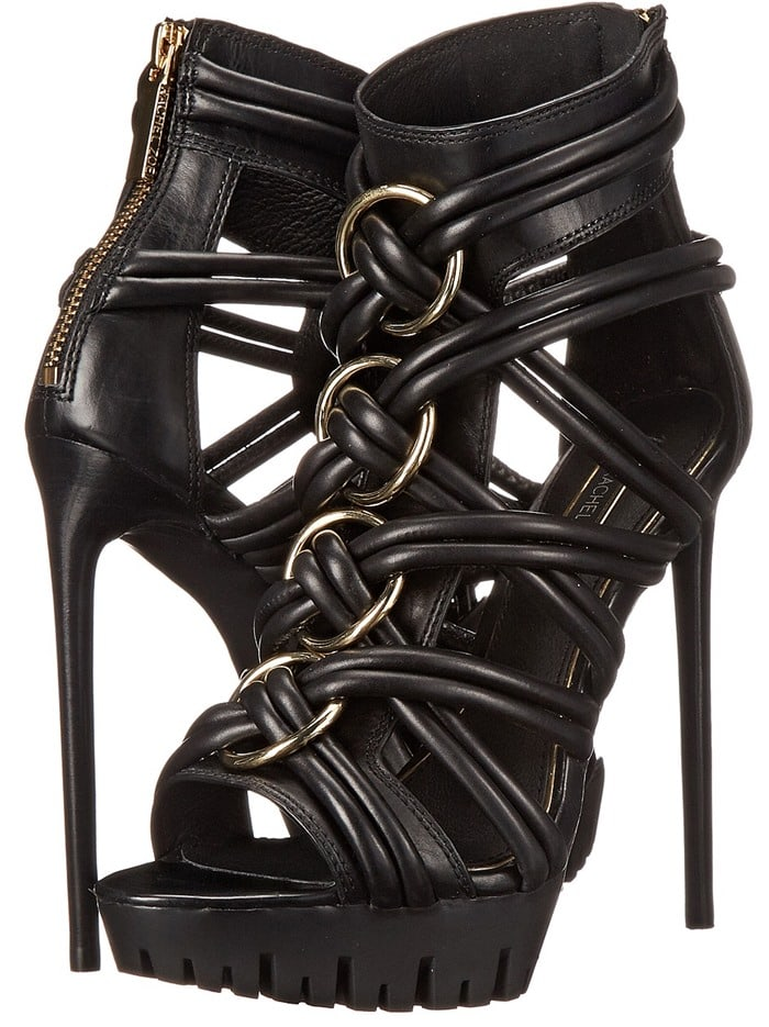 Rachel Zoe Harlin Leather Strappy Sandals in Black