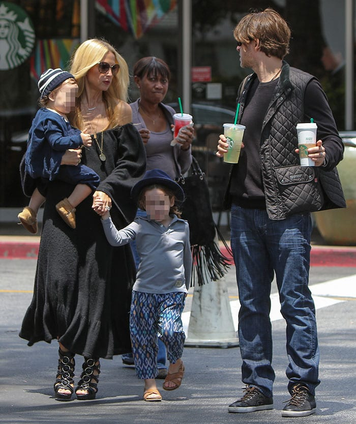 Rachel Zoe leaving a Starbucks store with her husband, Rodger Berman, and their children, Skyler and Kaius