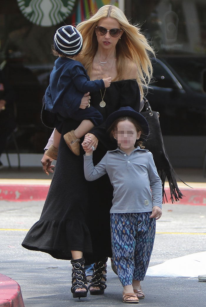 Rachel Zoe donned an off-the-shoulder black maxi dress