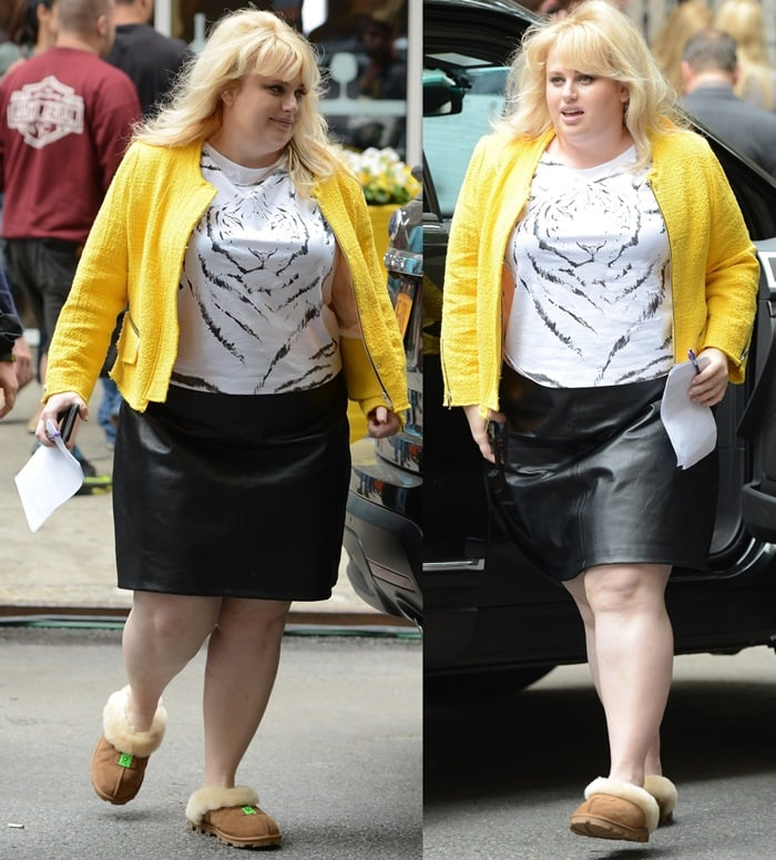 1cb01507312 How to Wear UGG Slippers with a Black Leather Skirt Like Rebel Wilson