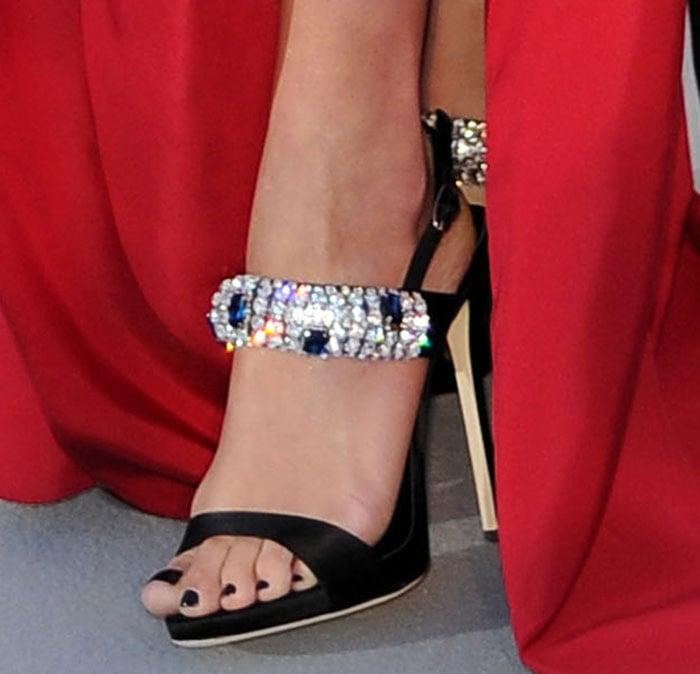 Rita Ora's sexy feet in embellished Giuseppe Zanotti sandals
