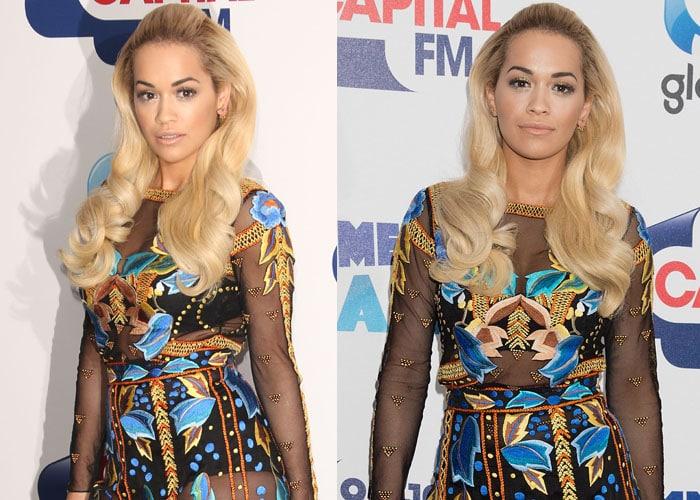 Rita Ora's multicolored embroidered dress