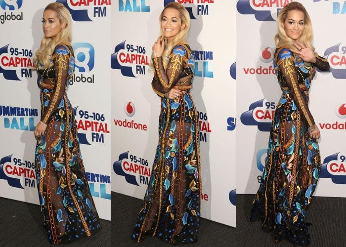 Rita Ora wore a head-turning floor-length sheer dress