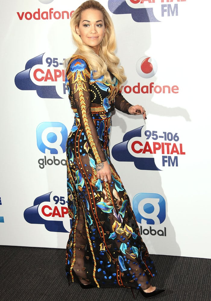 Rita Ora completed her look with black Louboutins
